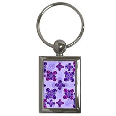 Deluxe Ornate Pattern Design In Blue And Fuchsia Colors Key Chain (rectangle) by dflcprints