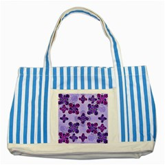 Deluxe Ornate Pattern Design In Blue And Fuchsia Colors Blue Striped Tote Bag by dflcprints