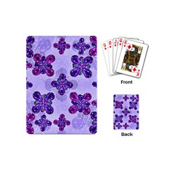 Deluxe Ornate Pattern Design In Blue And Fuchsia Colors Playing Cards (mini) by dflcprints