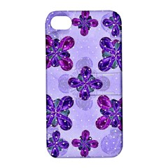 Deluxe Ornate Pattern Design In Blue And Fuchsia Colors Apple Iphone 4/4s Hardshell Case With Stand by dflcprints