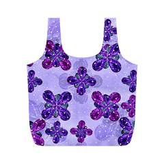 Deluxe Ornate Pattern Design In Blue And Fuchsia Colors Reusable Bag (m) by dflcprints
