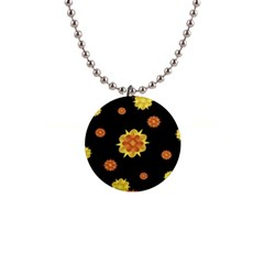 Floral Print Modern Style Pattern  Button Necklace by dflcprints