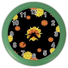 Floral Print Modern Style Pattern  Wall Clock (color) by dflcprints