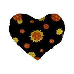 Floral Print Modern Style Pattern  16  Premium Flano Heart Shape Cushion  by dflcprints