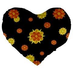 Floral Print Modern Style Pattern  19  Premium Flano Heart Shape Cushion by dflcprints