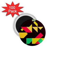 Shapes In Retro Colors 2 1 75  Magnet (100 Pack)  by LalyLauraFLM