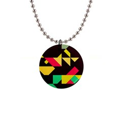 Shapes In Retro Colors 2 1  Button Necklace by LalyLauraFLM
