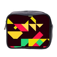 Shapes In Retro Colors 2 Mini Toiletries Bag (two Sides) by LalyLauraFLM