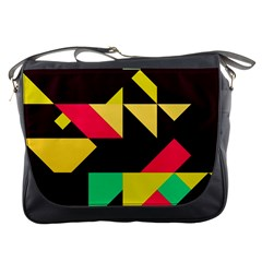Shapes In Retro Colors 2 Messenger Bag by LalyLauraFLM