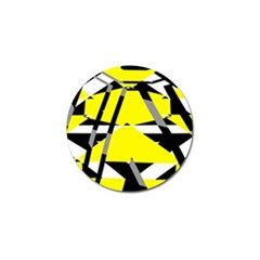 Yellow, Black And White Pieces Abstract Design Golf Ball Marker (10 Pack) by LalyLauraFLM
