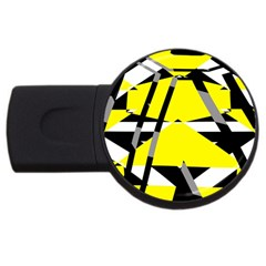 Yellow, Black And White Pieces Abstract Design Usb Flash Drive Round (2 Gb) by LalyLauraFLM