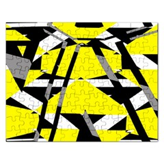 Yellow, Black And White Pieces Abstract Design Jigsaw Puzzle (rectangular) by LalyLauraFLM
