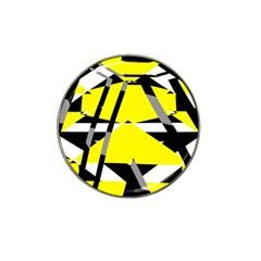 Yellow, Black And White Pieces Abstract Design Hat Clip Ball Marker by LalyLauraFLM