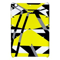 Yellow, Black And White Pieces Abstract Design Apple Ipad Mini Hardshell Case by LalyLauraFLM
