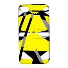 Yellow, Black And White Pieces Abstract Design Apple Iphone 4/4s Hardshell Case With Stand by LalyLauraFLM