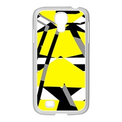 Yellow, Black And White Pieces Abstract Design Samsung Galaxy S4 I9500/ I9505 Case (white) by LalyLauraFLM