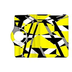 Yellow, Black And White Pieces Abstract Design Kindle Fire Hd (2013) Flip 360 Case by LalyLauraFLM