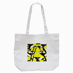 Yellow, Black And White Pieces Abstract Design Tote Bag (white) by LalyLauraFLM