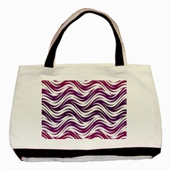 Purple Waves Pattern Classic Tote Bag (two Sides) by LalyLauraFLM