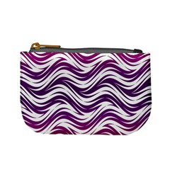 Purple Waves Pattern Mini Coin Purse by LalyLauraFLM
