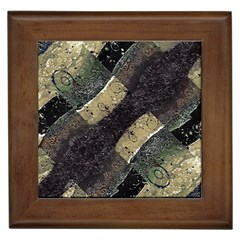 Geometric Abstract Grunge Prints In Cold Tones Framed Ceramic Tile by dflcprints