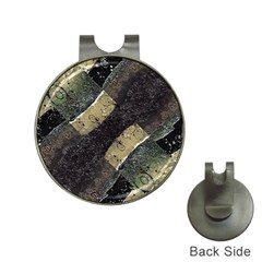 Geometric Abstract Grunge Prints In Cold Tones Hat Clip With Golf Ball Marker by dflcprints