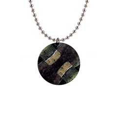 Geometric Abstract Grunge Prints In Cold Tones Button Necklace by dflcprints