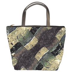 Geometric Abstract Grunge Prints In Cold Tones Bucket Handbag by dflcprints