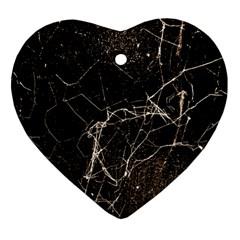Spider Web Print Grunge Dark Texture Heart Ornament by dflcprints