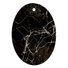 Spider Web Print Grunge Dark Texture Oval Ornament (two Sides) by dflcprints