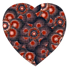 Modern Floral Decorative Pattern Print Jigsaw Puzzle (heart) by dflcprints