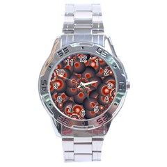 Modern Floral Decorative Pattern Print Stainless Steel Watch by dflcprints