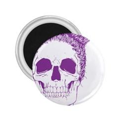 Purple Skull Bun Up 2 25  Button Magnet by vividaudacity