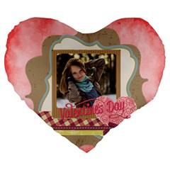 Love By Ki Ki   Large 19  Premium Flano Heart Shape Cushion   8zvsi91qcp8a   Www Artscow Com Front