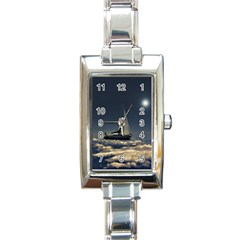 Navigating Trough Clouds Dreamy Collage Photography Rectangular Italian Charm Watch by dflcprints
