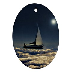 Navigating Trough Clouds Dreamy Collage Photography Oval Ornament by dflcprints