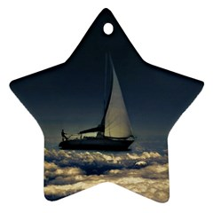 Navigating Trough Clouds Dreamy Collage Photography Star Ornament by dflcprints