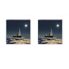 Navigating Trough Clouds Dreamy Collage Photography Cufflinks (square) by dflcprints