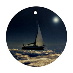 Navigating Trough Clouds Dreamy Collage Photography Round Ornament (two Sides) by dflcprints