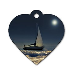 Navigating Trough Clouds Dreamy Collage Photography Dog Tag Heart (one Sided)  by dflcprints