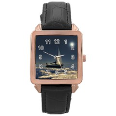 Navigating Trough Clouds Dreamy Collage Photography Rose Gold Leather Watch  by dflcprints