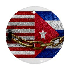 United States And Cuba Flags United Design Round Ornament by dflcprints