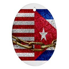 United States And Cuba Flags United Design Oval Ornament (two Sides) by dflcprints