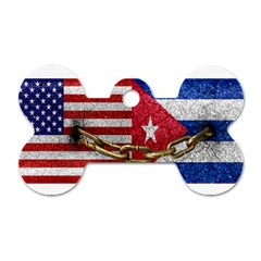 United States And Cuba Flags United Design Dog Tag Bone (one Sided) by dflcprints