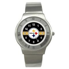 Pittsburgh Steelers National Football League Nfl Teams Afc Stainless Steel Watch (Slim) by SportMart