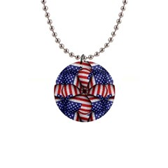 Modern Usa Flag Pattern Button Necklace by dflcprints
