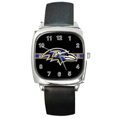 Baltimore Ravens National Football League Nfl Teams Afc Square Leather Watch by SportMart