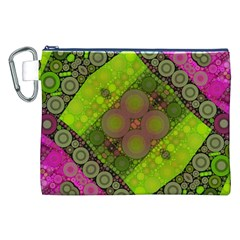 Florescent Pink Green  Canvas Cosmetic Bag (xxl) by OCDesignss