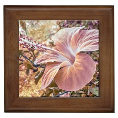 Fantasy Colors Hibiscus Flower Digital Photography Framed Ceramic Tile by dflcprints