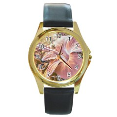 Fantasy Colors Hibiscus Flower Digital Photography Round Leather Watch (gold Rim)  by dflcprints
